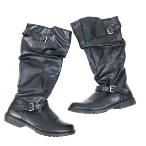 Soho Girls 9 Black Tall Boots Buckles Shoes Casual